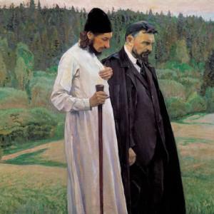 S.Bulgakov (a destra) con P.Florenskij (olio su tela di V.A.Nesterov 1917)