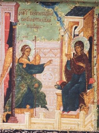 Icona russa del XVI secolo - scena dell'inno Acatisto